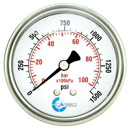 "2-1/2"" Pressure Gauge, ALL STAINLESS STEEL, Liquid Filled, Back Mnt, 1500 Psi"