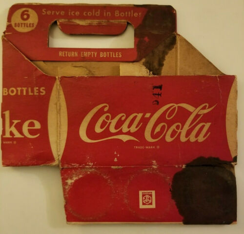 1940s Coca Cola cardboard Six Pack Soda Carrier Original Vintage