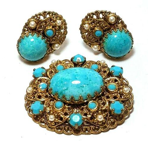 Vintage West Germany Brooch Earrings Set Robins Egg Blue Glass Rhinestone Pearls
