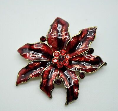 ELEGANT ANTIQUE LEAVES STYLE RED COLOR  FASHION BROOCH /PIN JEWELRY #2 Antique Style Brooch Pin