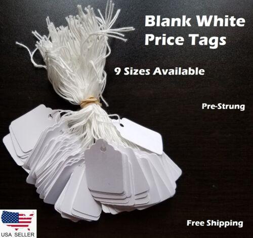 Blank White Merchandise Price Tags w/ String Retail Strung Jewelry 100-1000 pcs