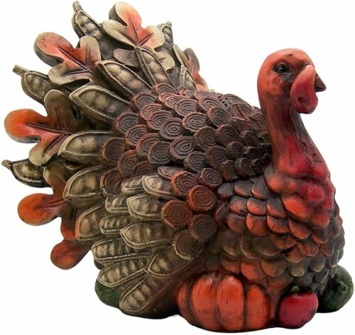 "GERSON 8.6"" RESIN HARVEST TURKEY FIGURINE THANKSGIVING & FALL TABLETOP DECOR"