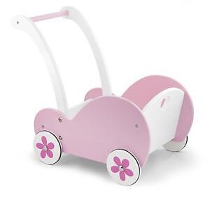 Deluxe Childrens/Girls Pink Wooden Dolls Pram Buggy Pushchair Wood Toy