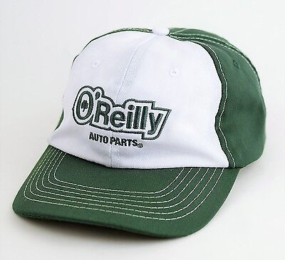 Oreilly Auto Parts Green   White Embroidered Baseball Hat Cap   Size Adjustable