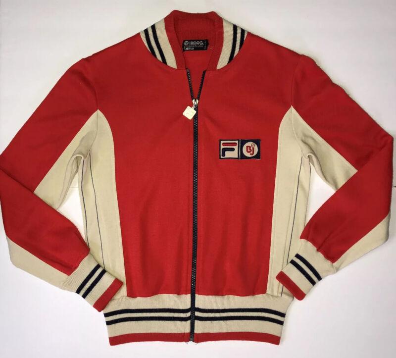 Vintage 70s Fila BJ Bjorn Borg White Line US 32 Red Cream Tennis Track Jacket