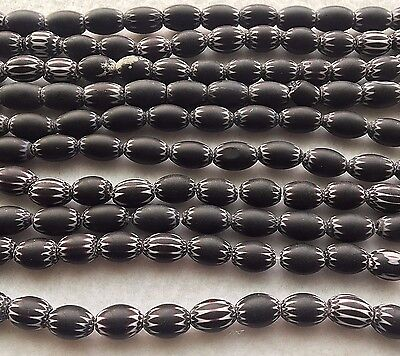8x12mm Matte Black 6-Layer Oval Chevron Glass Beads, Strand of Approx. 32 Beads