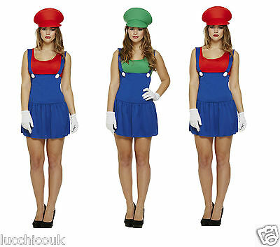 Damen SuperMario Klempner Bros Videospiel Workwoman Kostüm ()