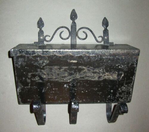 antique iron metal lidded wall/porch  mount mailbox