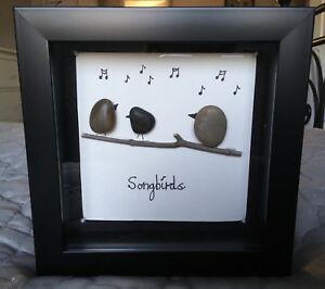 "Hand crafted songbirds pebble art- 7"" by 7"" frame"