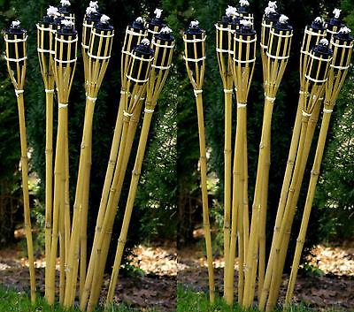 12 Stk Bambusfackeln 90 cm Bambus Fackel Gartenfackel Holzfarben Garten Deko NEU