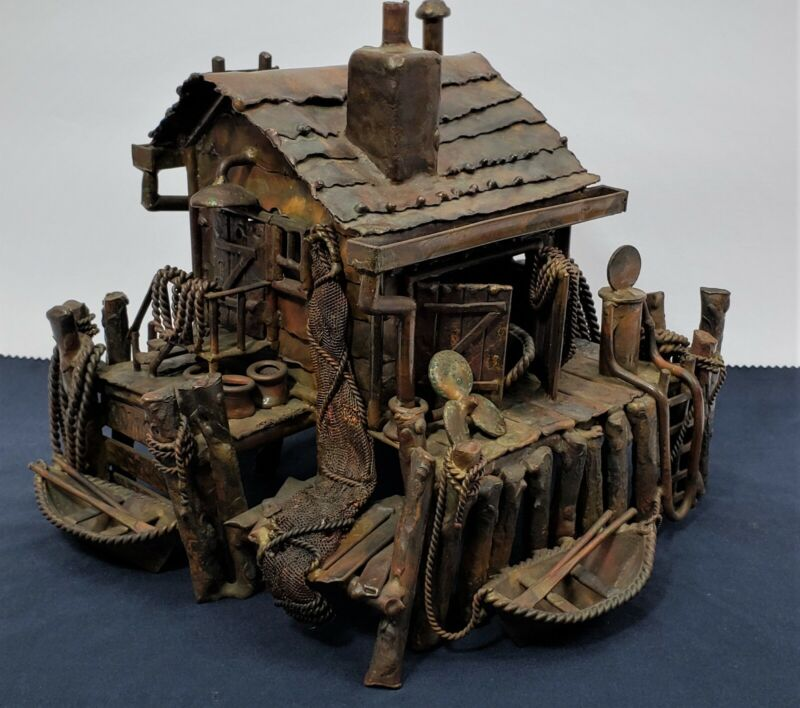 Large Vintage Jim Lewk Brutalist Copper Sculpture Bait Shop/Boat House Folk Art