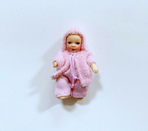 Dollhouse Miniature Dressed Porcelain  Baby Girl Doll
