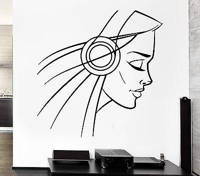 Decal Headphones Girl Teen Sexy Music Cool Decor Rock Pop Fo