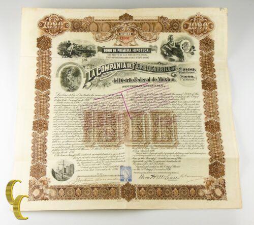1896 La Compania De Ferrocarriles $1000 Silver Bond