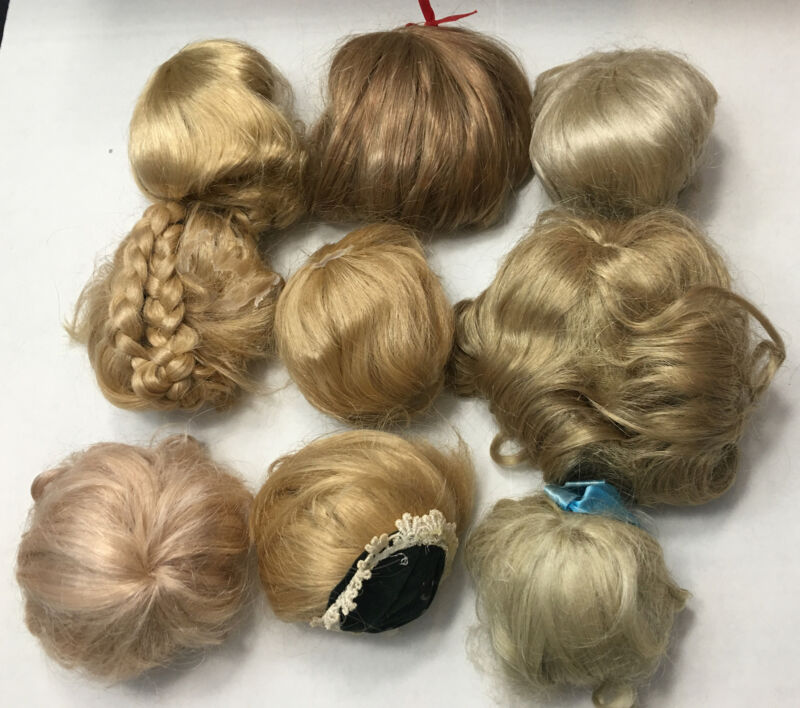 LOT 9 Vintage Doll Parts BLONDE WIGS Mixed Styles parts repair OOAK crafting