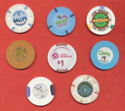 Las Vegas $1 Poker Chip Lot of 8- No Duplicates         Lot #3