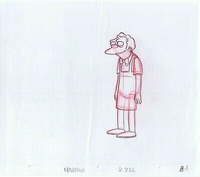 Moe Szyslak (Simpsons Moe Szyslak Original Art Animation Production Red Pencils HABF06 SC)