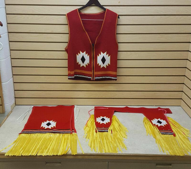 4 PC. RIBBON FRINGE RIBBONWORK BROADCLOTH NATIVE AMERICAN INDIAN FANCY DANCE SET