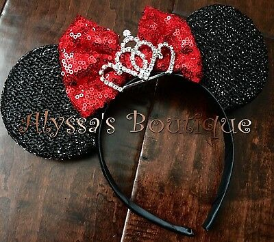 NEW Minnie Mouse Ears Headband Shiny Black Glittery Red Bow Tiara Birthday Party