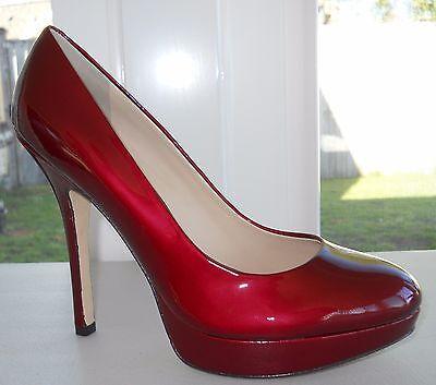 Joan And David Flipp Platform Pump Size 7M Medium Red Patent Leather   Sexy