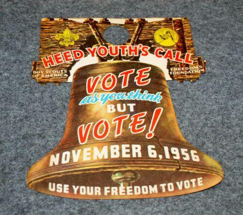 BSA DOOR HANGER…BSA & FREEDOMS FOUNDATION…VOTE - NOVEMBER 6, 1956
