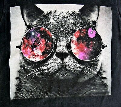 Cat in Space Glasses Popular Poison Black T Shirt Outer Space Size (Cat Space Glasses)