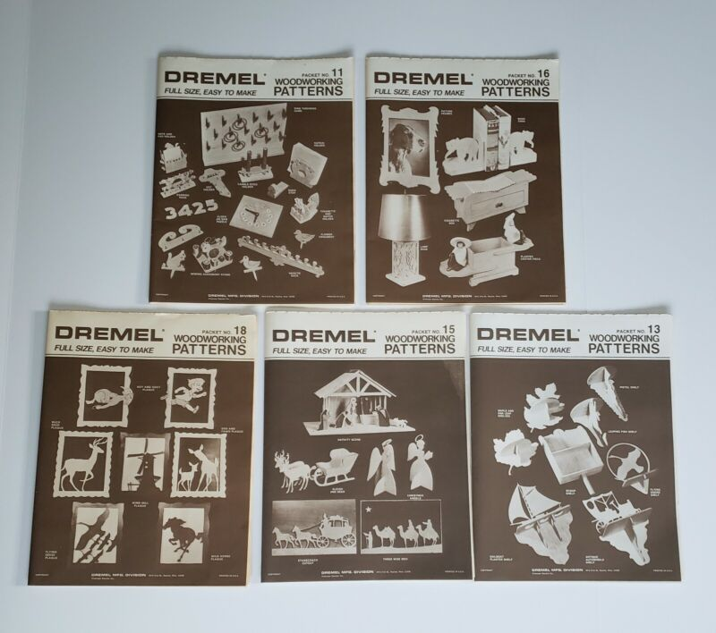 Lot Of 5 Vintage Dremel Woodworking Patterns, Packets 11, 13, 15, 16, 18, B