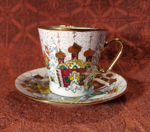 Tea Cup & Saucer Russian Porcelain Lomonosov LFZ. Winter Composition