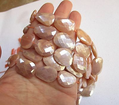 Rose Cut Mystic Pink Peach Moonstone Slice Beads Nuggets, Super Sparkly 1 Strand