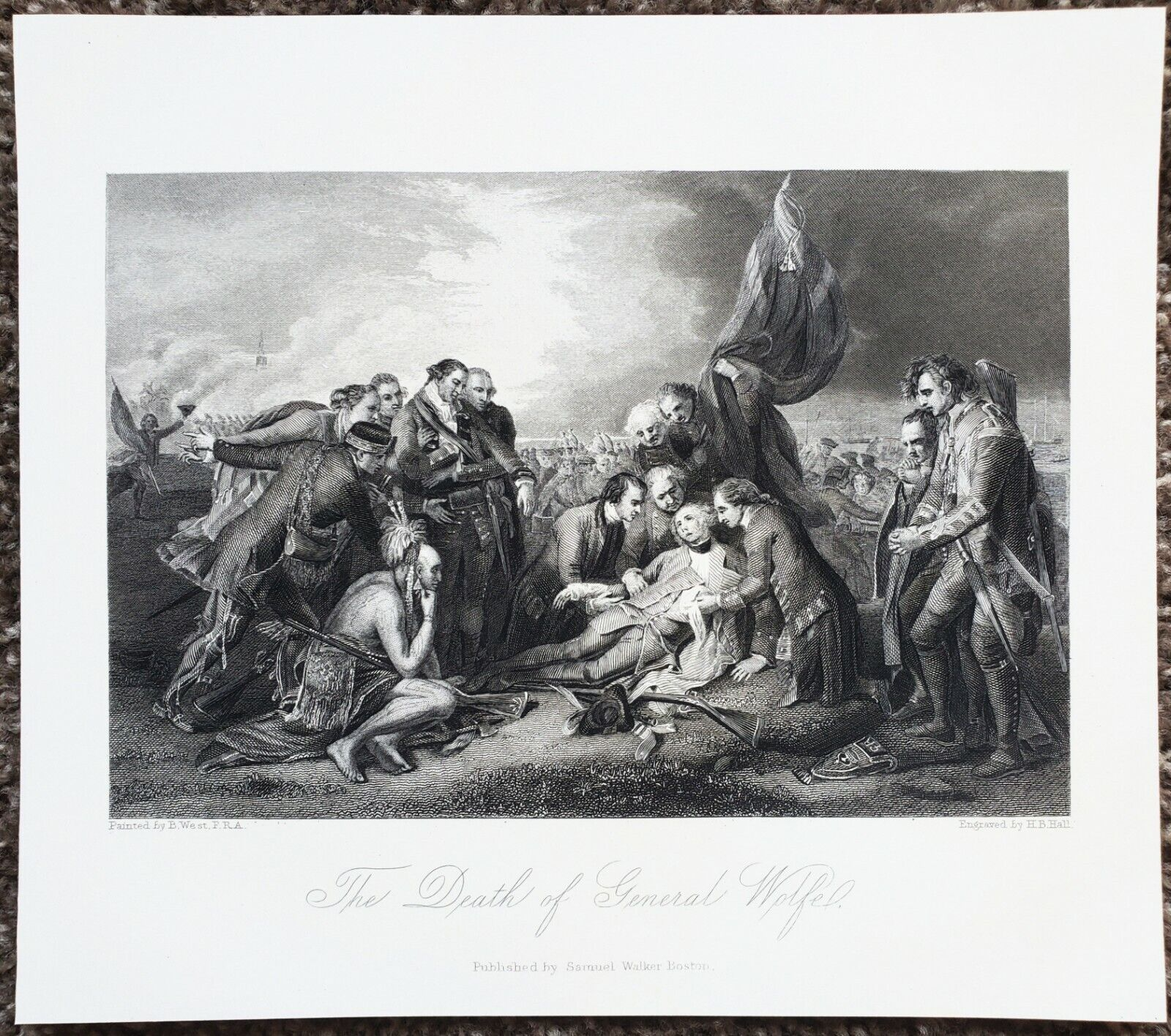 1856 Death of General Wolfe Engraving Battle of Quebec 1759 Seven Years War RARE