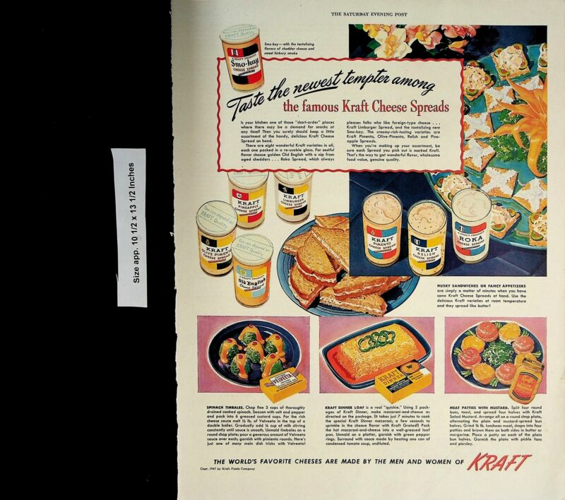1947 Kraft Cheese Spreads Smo-kay Spread Vintage Print Ad 5489