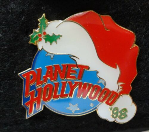 Christmas Santa Hat w/ Mistletoe 1998 Planet Hollywood Blue Planet PH Lapel Pin