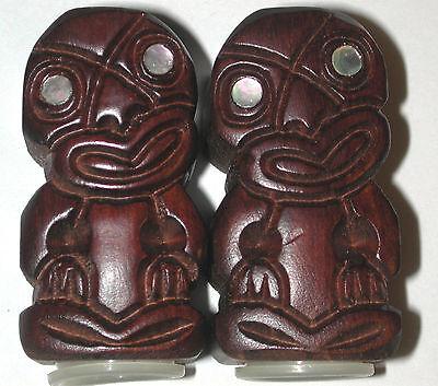 Vintage Rotorua New Zealand tiki Carved Wood Maori Salt Pepper shakers Shell eye