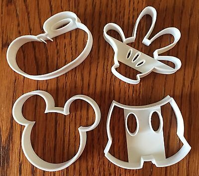 Mickey Mouse four piece set cookie & fondant cutter - US SELLER!! - Mickey Mouse Cookie Cutter Set