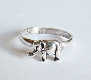 TOE RING 925 SOLID STERLING SILVER ADJUSTABLE SIZE ELEPHANT WOMENS / KIDS RINGS