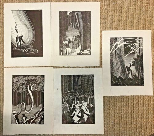 Vintage 1920s Hand-Printed Hawaiiana Print on Rice Paper Lot (5)