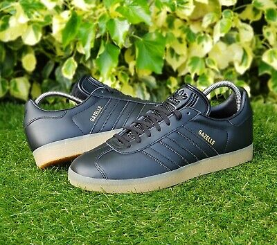 BNWB & Genuine Adidas Originals ® Gazelle Black & Gum Leather Trainers UK Size 8