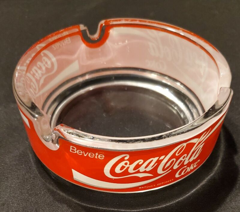 "Vintage,Rare German,French & Italian ""Drink"" Coca-Cola Round Glass Ashtray 4"""