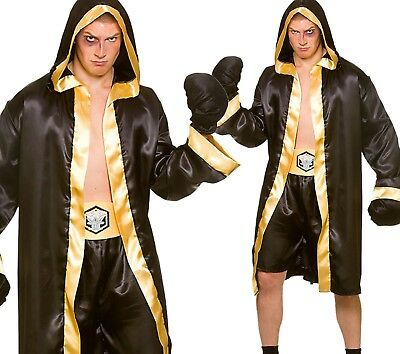 Boxing Costume Men (Men Champion Boxer Boxing Sports Robe Fancy Dress Costume Outfit + Gloves)