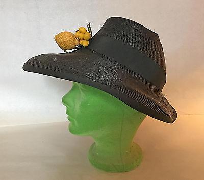 VINTAGE 1930's 1940'S MILDRED WIDE BRIM STRAW HAT BLACK