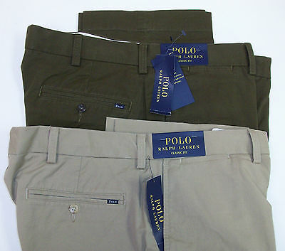 Chino-twill-khaki (Polo Ralph Lauren Flat Front Classic Fit Stretch Chino Twill Khaki Pants $98 NWT)