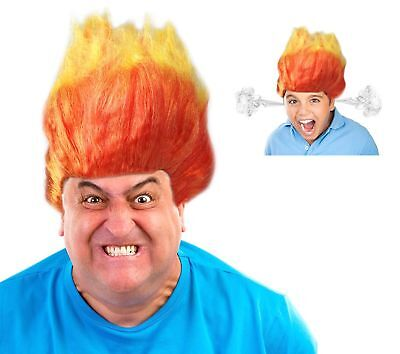 Troll Wig Costume (Anger Wig Anger Costume Wig Orange and Yellow Flame Wig Troll)