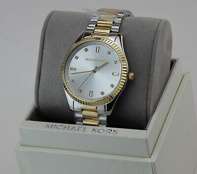 NEW AUTHENTIC MICHAEL KORS BLAKE SLIM SILVER GOLD CRYSTALS WOMEN'S MK3241 WATCH