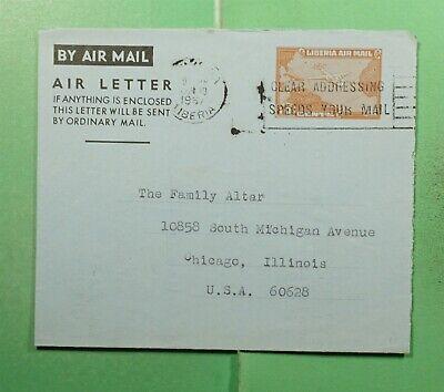 DR WHO 1967 LIBERIA SLOGAN CANCEL AEROGRAMME TO USA  g16151