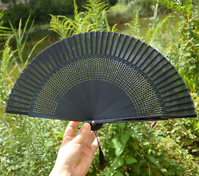 Folding Hand Fan - Lady Retro Vintage Hand-Held Black Bamboo Lace Decorative Folding Fan Kimono