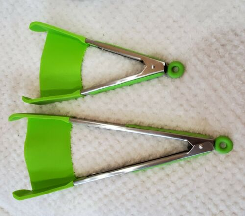 Silicone Spatula Tongs LARGE and SMALL Set Heat Resistant Di