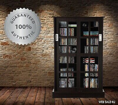 Media Storage Cabinet CD DVD Blu-Ray Rack Sliding Doors Tempered Glass Espresso  Atlantic Glass Storage Cabinet