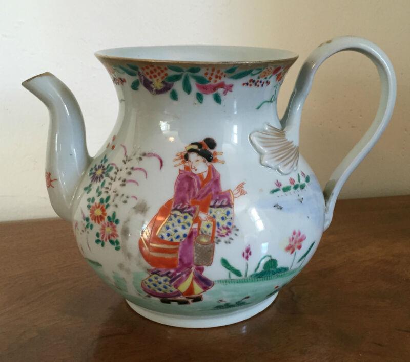 Antique 19th century Chinese Export Porcelain Famille Rose Tea Pot Teapot