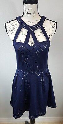 Crystal Doll Blue Nude Eyelet Cutout Size 11 Junior A-Line Dress () (Crystal Doll Juniors Cutout A Line Dress)