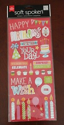 NIP 3-D scrapbooking Stickers Me & My Big Ideas Soft Spoken Birthday new - Birthday Scrapbook Ideas
